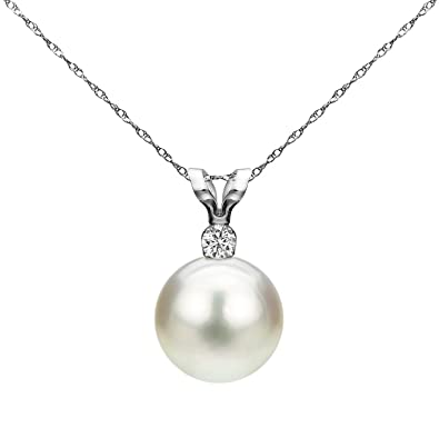 91e4b85284535 La Regis Jewelry White Saltwater Cultured Japanese Akoya Pearl Diamond  Pendant Necklace 14K Gold 1/20 CTTW 8-8.5mm