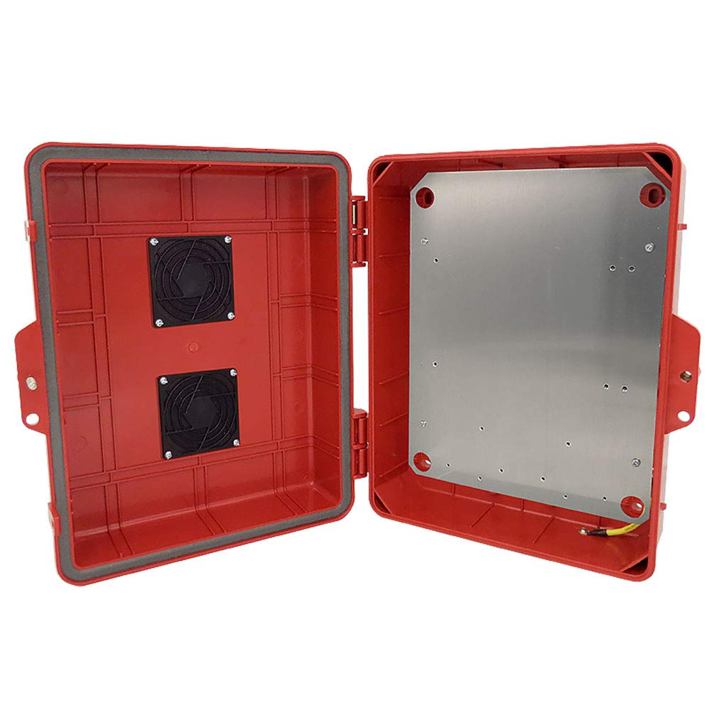 Altelix Vented Red NEMA Enclosure (12'' x 8'' x 4'' Inside Space) Polycarbonate + ABS Weatherproof Tamper Resistant NEMA Box with Aluminum Equipment Mounting Plate