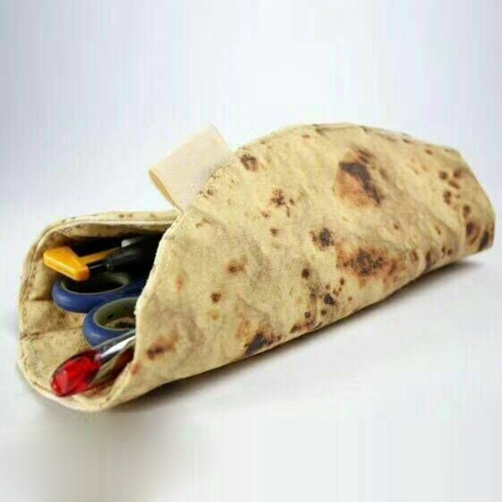 HHei/_K Simulation Pizza Baked Wheat Cake Stationery Tool Collection Bag New Imitation Pancake Pizza Rolled Pencil Bag
