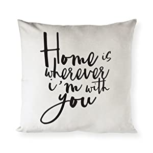 The Cotton & Canvas Co. Home is Wherever I'm with You Home Decor Pillow Cover, Pillowcase, Cushion Cover and Decorative Throw Pillow Case (Natural Canvas Color, Not White)