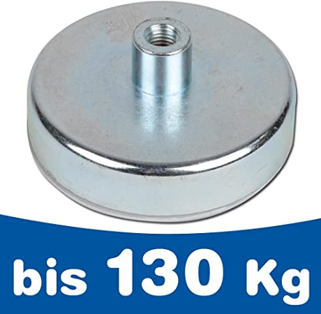 Magneti con base in acciaio Ø 10mm Ø 125mm gambo-foro-filettato ferrite