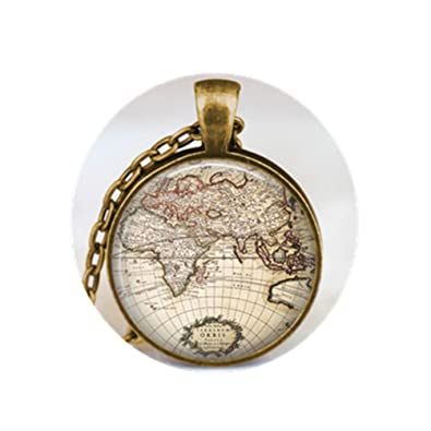 Amazon earth map pendant globe art pendant world map globe earth map pendant globe art pendant world map globe jewelry gumiabroncs Image collections