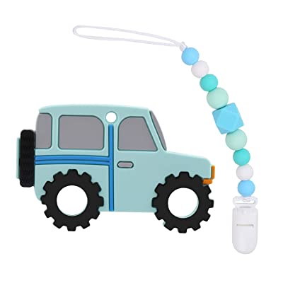 Flantor Teether Toy Baby Teether Silicone with Pacifier Clip Holder Set for Newborn Babies,Food Grade BPA Free Silicone Teether, for Boy and Girl (Car-Blue): Toys & Games