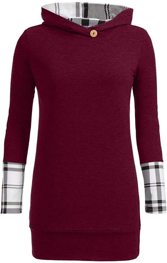 Laimeng/_World Womens Long Sleeve Pullover Hoodies with Plaid Cuffs Sweatshirt Hooded Tops