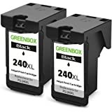 GREENBOX Remanufactured Ink Cartridge Replacement For Canon PG-240XL 240XL 240 XL High Yield For Canon PIXMA MG3620 MG3520 MG2220 MG3220 MG3522 MX472 MX452 MX522 MX532 MX392 MX432 MX512 (2 Black)