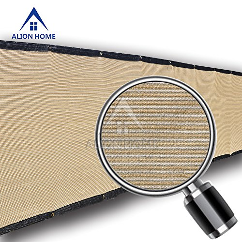 Alion Home HDPE Privacy Screen For Patio, Deck, Balcony, Backyard, Fence, Apartment Privacy - Black Trim - BEIGE(3'x 11') by Alion Home (Image #1)'