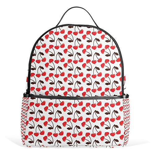 Sunlome Love Cherry Pattern Laptop Backpack Casual Shoulder Daypack for Student School Bag Handbag - (Casual Light Cherry)
