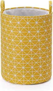 "Every Deco Round Cylinder Wire Metal Frame Dual Fabric Laundry Basket Hamper Bin Storage Collapsible Fold-able Organization Toys Clothes - 19.7"" H/Large - Yellow Geometric"