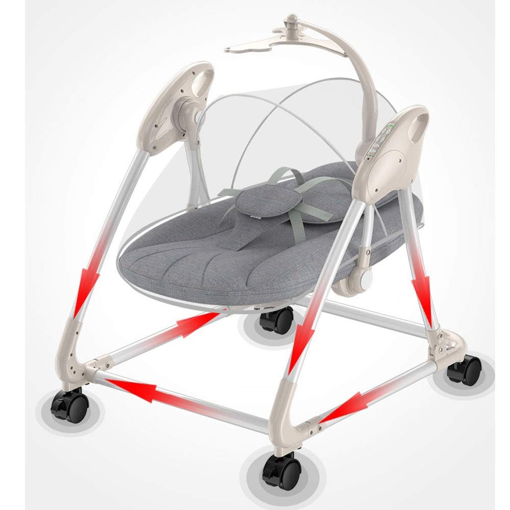 Yyqtyeyy Electric Baby Cradle, Cradle Swing 5-Speed Adjustment Timing Foldable Remote Control 360 Degree Wheel Bluetooth Music Dual Drive Mode for 0-24 Months Newborns (Color : D) by Yyqtyeyy