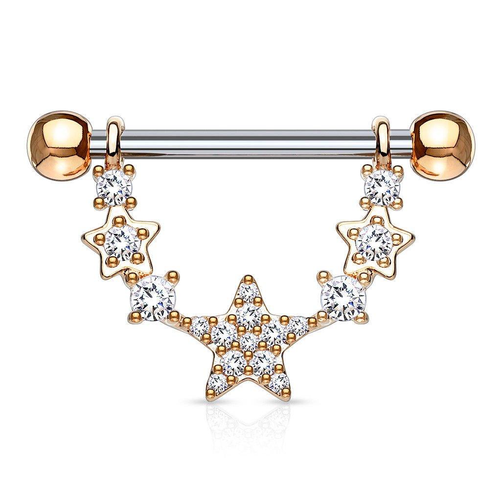 14mm Barbells//Shields 14g PAIR of Gem Paved Stars Dangle Nipple Ring 9//16