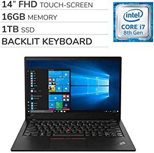 "Lenovo ThinkPad X1 Carbon Gen 7 2019 14"" FHD Touch-Screen Laptop Notebook Computer, Intel Core i7-8565U 1.80 GHz, 16GB RAM,1TB SSD, Backlit Keyboard, No DVD, Wi-Fi, Bluetooth, Webcam,HDMI, Windows 10"