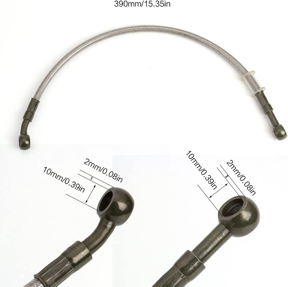 45cm//17 Motorcycle Silver Brake Oil Hose Line 39cm-150cm Stainless Steel Braided Fuel Pipe Tube Pipe