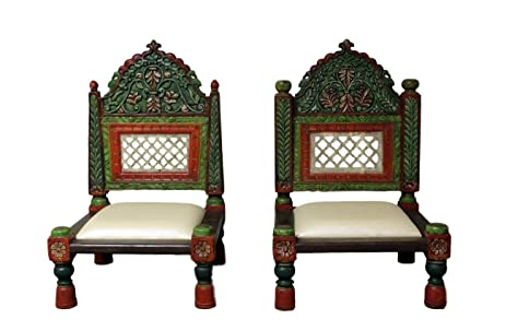 Charmant Painted Wooden Carved Low Wedding Chairs   Set Of 2
