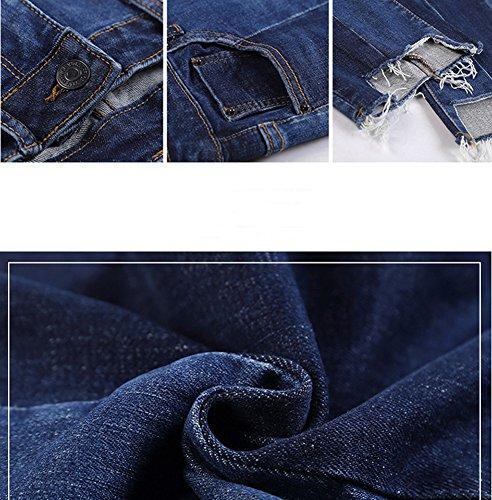 Haute Bleu Vintage Casual lastique Taille Denim Boyfriend Femme Jeans Stretch Pants Loose Pantalons Straight w0gxdO051n