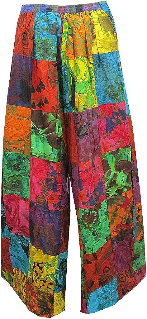 Womens Patchwork Flare//Tie leg Long Cotton Pants