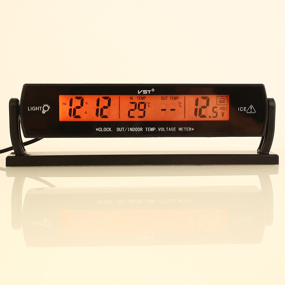 Battery Monitor For 12v Sedeta 3 In 1 Car Auto Vehilce Digital Clock Thermometer Volt Meter Voltmeter