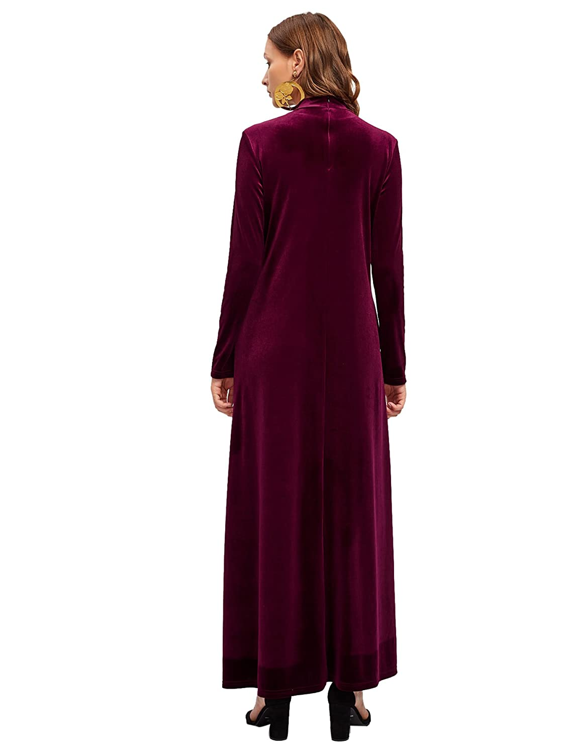 1805ad3eb MAKEMECHIC Women's Elegant Long Sleeve Velvet Loose Maxi Dress at Amazon  Women's Clothing store: