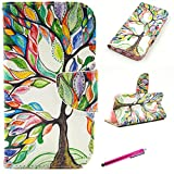 S6 Case, [Card Slots] JCmax Premium Flip Slim Side PU Leather Wallet Smart Stand Case Cover [Magnetic Closure] and Card Slots for Samsung Galaxy S6 -[Floral Tree Pattern]