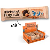 Michel et Augustin Chocolate French Cookie Squares 18 Bars | Milk Chocolate Caramel Butter Shortbread | Gourmet Snack Dessert Gift Baskets For Holiday Christmas Valentines | 4 Cookie Squares Per Bar