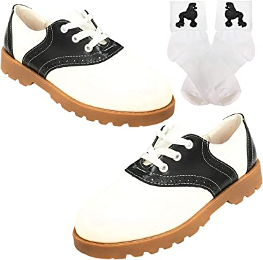 50s Saddle Oxford for Womens,Sadie Shoes & Bobby Sock WPoodle Applique