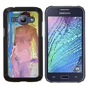 TaiTech / Prima Delgada SLIM Casa Carcasa Funda Case Bandera Cover Armor Shell Wood Texture - Desnudo Pintura Ley mujer desnuda - Samsung Galaxy J1 J100