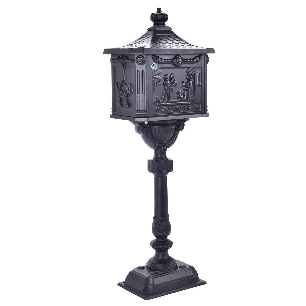 Giantex Cast Aluminum Mailbox Heavy Duty Postal Box Security Aluminum Post/Pedestal Cast Mailbox, Black