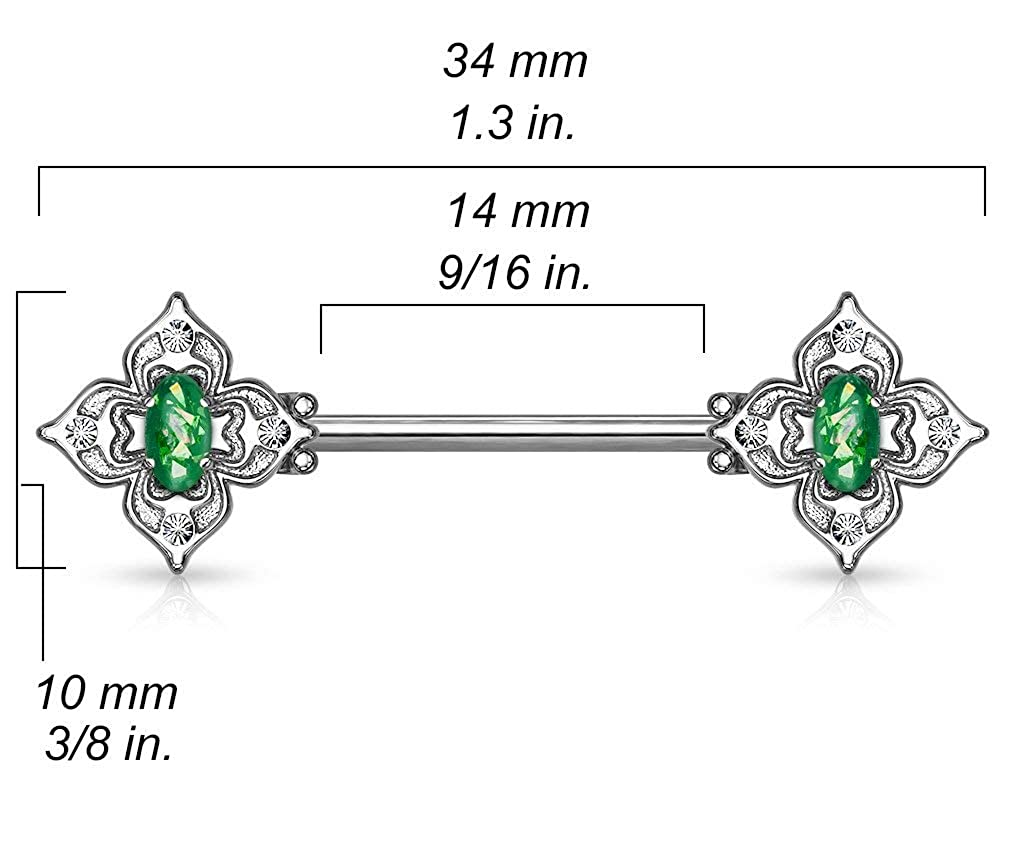Forbidden Body Jewelry Pair of Surgical Steel 9//16 Inch 14mm Posh Floral Synthetic Opal Center Nipple Barbells