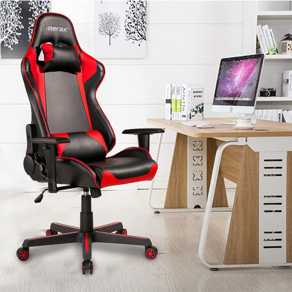 Racing Chair Office Computer Chair Ergonomic Gaming Chairs Home Office Desk Chair Lumbar Headrest Support Red