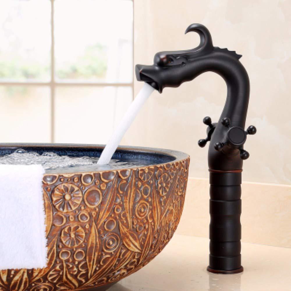 D XHSSF-Bathroom taps European Copper Ancient Cold-Hot Ancient Single-Faced Pot Faucet,E