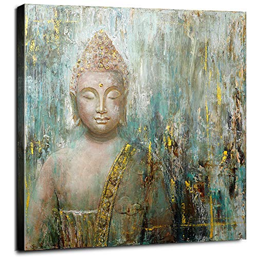 Oil Painting Hand-Painted Teal Buddha Wall Decor Framed Canvas Art Yoga Decoration Hand Drawn Zen Shakyamuni Buddhas Buddhist Meditation Spiritual Pictures office Original Artwork Living Room 24 × 24