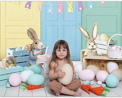 SZZWY 7x7ft Vinyl Easter Photography Background Cartoon Grey Easter Bunny Eggs Wooden Board Grassland Illustration Backdrop Child Kids Baby Shoot Easter Egg Hunt Activities Wallpaper