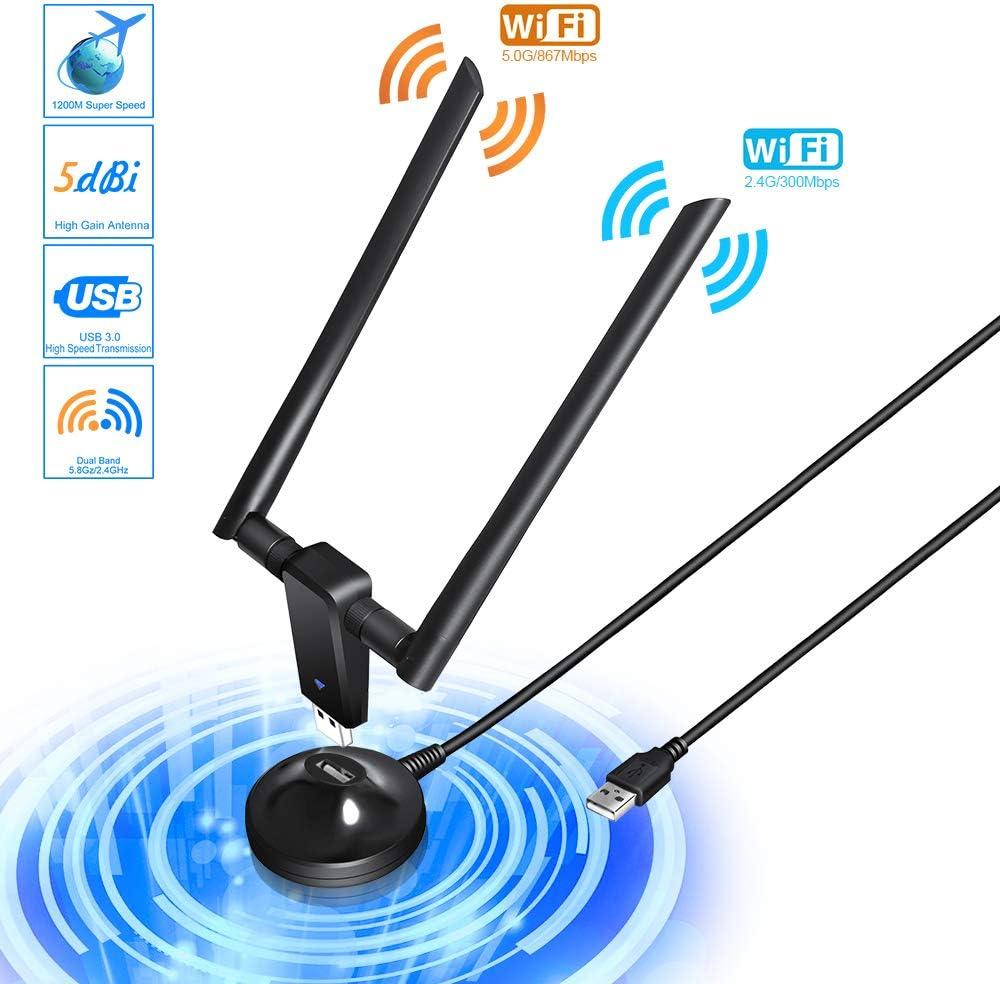 Adaptador WiFi USB 3.0 Adaptador Antena 1200Mpbs Dual Band Receptor WiFi 2 Antenas WiFi de 5dBi Soporte de 5Ghz 867Mbps para PC con Windows XP/Vista / ...