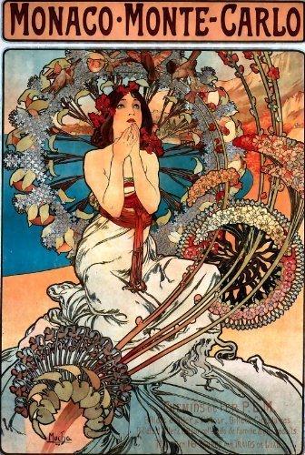 Alphonse Mucha Art Nouveau 'Monaco - Monte Carlo' Saluti cartoncino- Informazioni Carta, Qualsiasi Occasione 8.25 x 5.25 Cellophane Imbustato, Con Buste OFA Greeting Cards