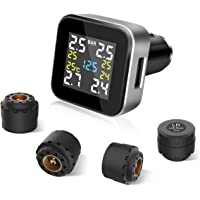 TYMATE TPMS Wireless Tire Pressure Monitoring System With 4pcs External Sensors (0-8.0 BAR/0-116 PSI) and 2.1A USB Charging Port, Real-time Displays 4 Tires' Pressure, Temperature and Alarm Function