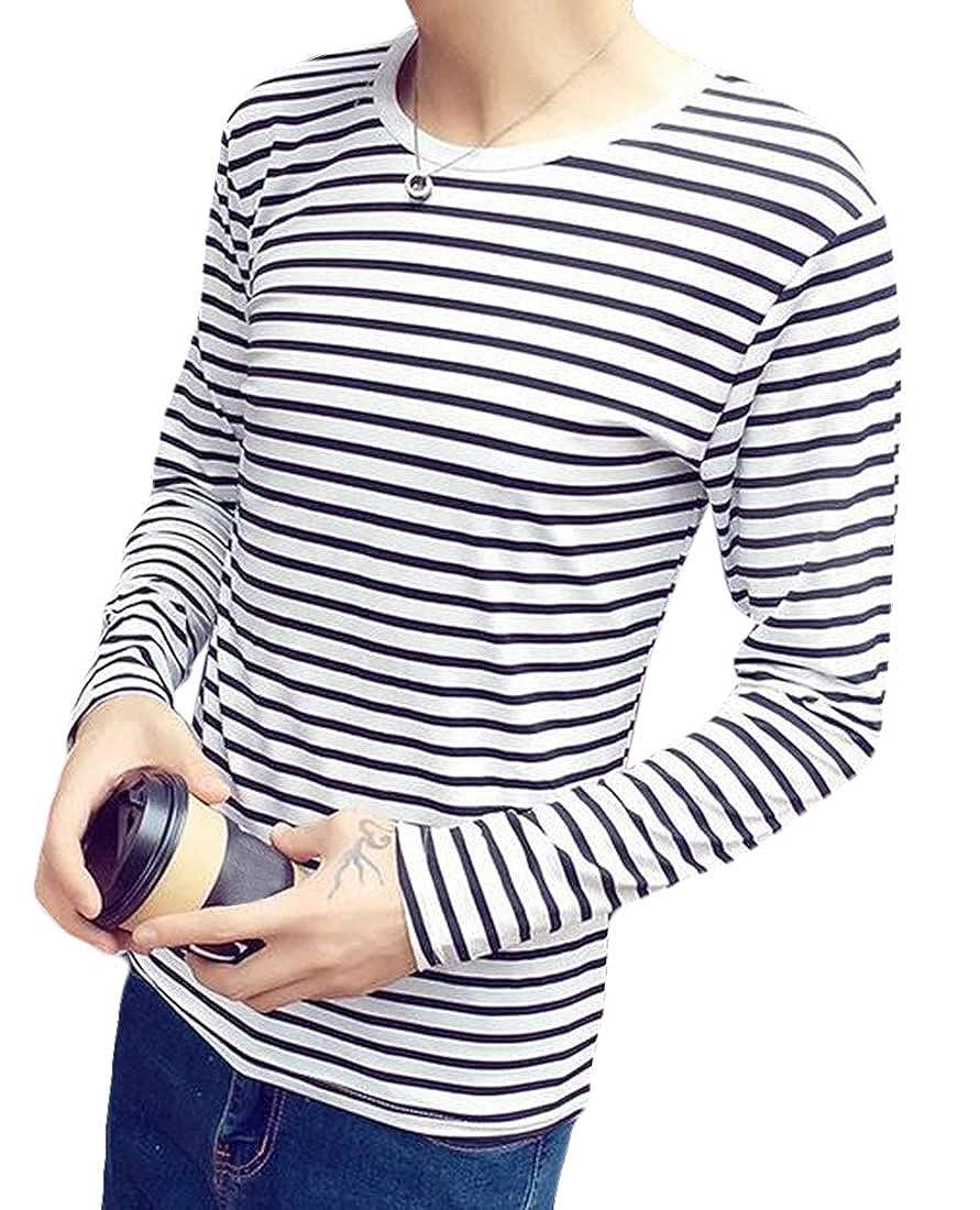 Nanquan Men Long Sleeve T-Shirt Striped Plus Size Crew-Neck Blouse