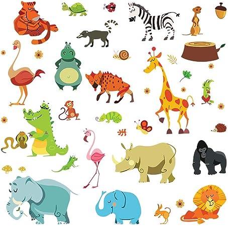 decalmile Adesivi Murali Colorato Dinosauro Adesivi da Parete per Bambini Animali Decorazione Murale Ragazzo Camera Bambini Camera da Letto