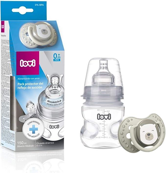 LOVI Pack protector del reflejo de succión LOVI: biberón 150ml y chupete dinámico 0-3m, Biberón Y Chupete, Multicolor, 150ml: Amazon.es: Bebé