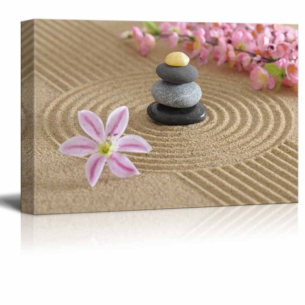 Zen Garden in Sand with Flower and Zen Stone Wall Decor ation ...