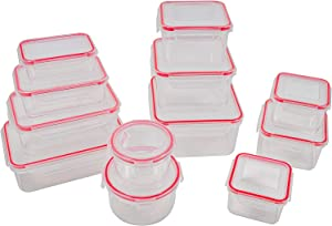 12 pcs Food Storage Containers with Lids @ Airtight Leak Proof Easy Snap Lock and BPA-Free Plastic Container Set @ Plastic Food Containers with Lids @ Plastic Containers with Lids(red)