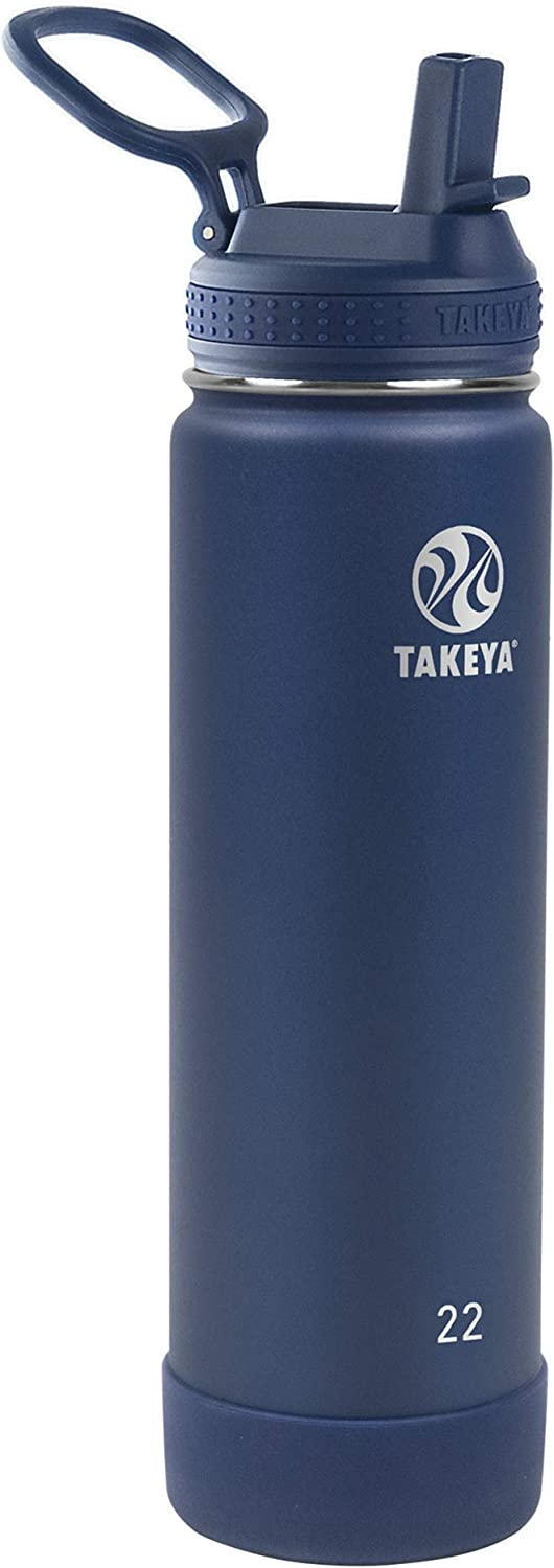 Takeya Actives Insulated Water Bottle w/Straw Lid, Midnight, 22 Ounces