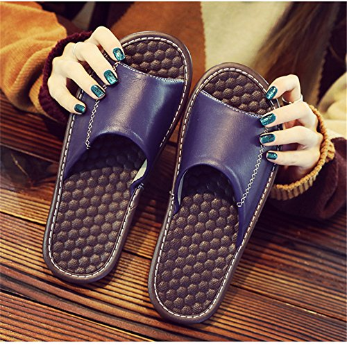 Men Sheepskin TELLW Comfortable Leather Wooden Dermis Floor Summer for Slippers Autumn W Spring Bleu Women TAxxPq1w
