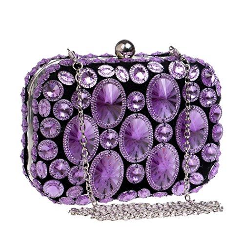 Sparkly Dress Evening Bags Evening Purple Banquet Dress Handbags LYMYY Clutch Various Diamond Ideas Colors Handbag Gift Evening Purse Fwv1RISq