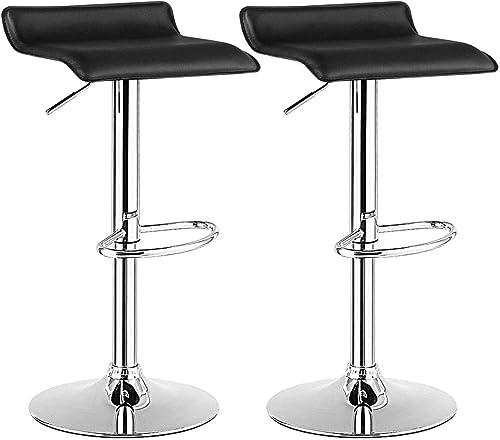 Hard PVC Leather Bar Stools Adjustable Bar Stools Set of 2 Counter Swivel Bar Stool Black