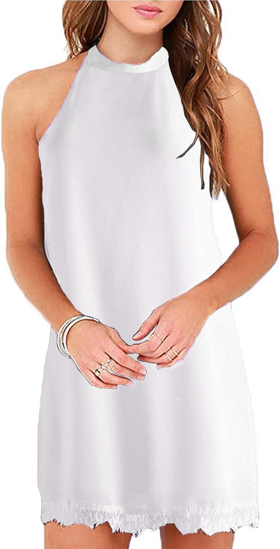Fantaist Womens Sleeveless Halter Neck Patchwork Lace Mini Casual Shift Dress