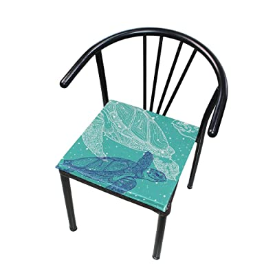 """Bardic HNTGHX Outdoor/Indoor Chair Cushion Ocean Turtle Pattern Square Memory Foam Seat Pads Cushion for Patio Dining, 16"""" x 16"""": Home & Kitchen"""