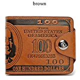 Sibalasi-New Men's US Dollar Wallet Bill Money Bifold Safe Purse With Magnetic Buckle (Brown)