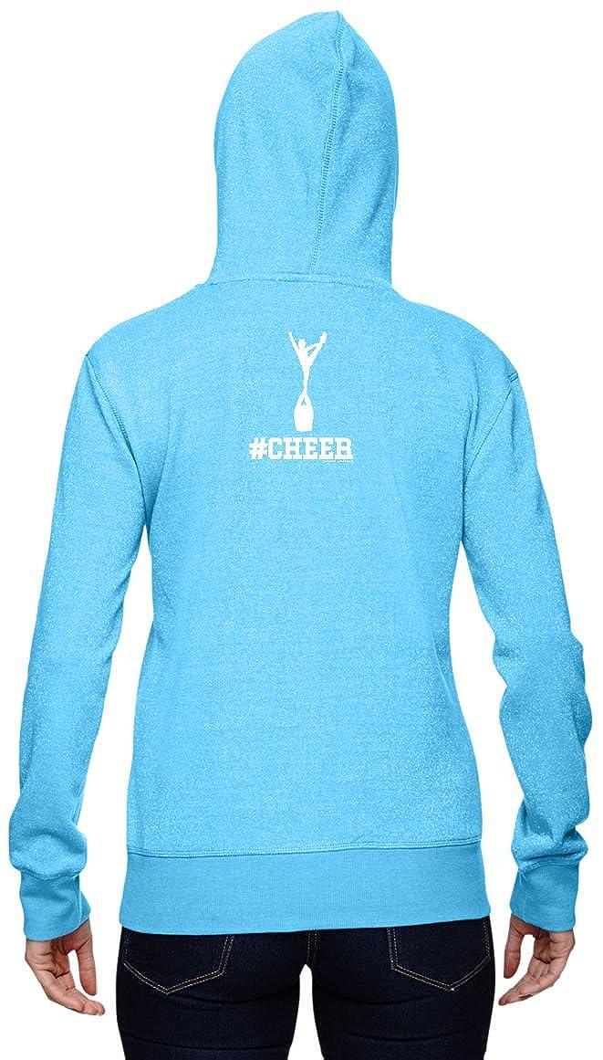 Hashtag Cheer 001#Cheer Cheerleading Design on Ladies Glitter French Terry Hoodies