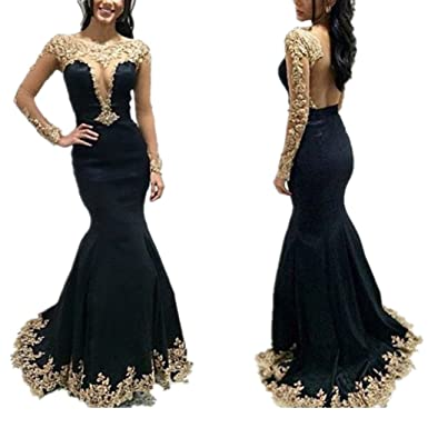 LeoGirl Womens Gold Lace Appliques Illusion Mermaid Prom Dresses Long Sleeve Sexy Formal Evening Gown (