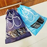 M-jump 4 Pack Shoe Storage Bags Waterproof Nonwoven fabric with Drawstring For Men and Women - Travel Shoe Organizer Bags for Boots, High Heel,Transparent Window - Washable Protecting and Storing Shoe