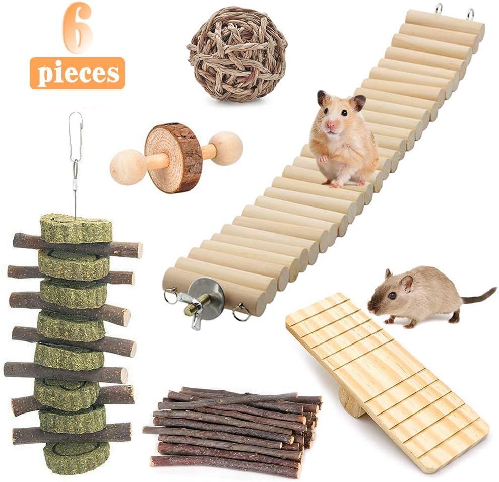 Powerking Juguetes hámsters, jerbos de madera natural Rata Conejillo de Indias Chinchilla Juguetes para masticar y cuidado de los dientes Juguete molar para conejos Conejito pájaro